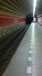 Taking the subway in Prague