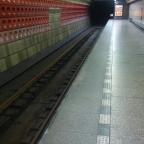 Taking the subway in Prague